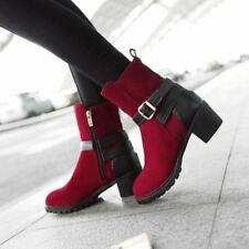 Fashion Womens Faux Suede Zip Buckle Bootie Block Heels Shoes Ankle Boots Size