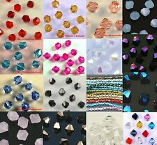 100pcs loose glass crystal bicone spacer beads 4mm Clear Black Rose Blue colors