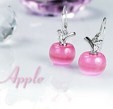 Earrings Dangle HOT Jewelry Womens Charm Drop Apple Fashion Silver Plated Opal