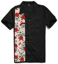 Mens Skull and Roses Retro Bowling Shirts Rockabilly Clothing Plus Size Shirts