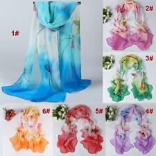Hot Chiffon Four Leaf Flower Printed Scarf Shawl Wrap Retro Style Boho Sunblock