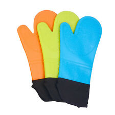 1 Hand Silicone Oven Mitts Heat Resistant Quilted Liner BBQ Microwave Oven Glove