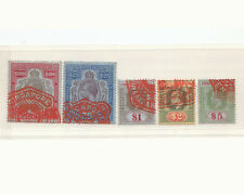 RARE STRAITS SETTLEMENTS/ SINGAPORE 5 SCARCE STAMPS $100/$25/$5/$2/$1- NO REPEAT