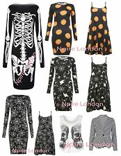 NPIRE LONDON WOMENS HALLOWEEN SKELETON SPIDER PUMPKIN BODYCON DRESS, TOP BLAZER
