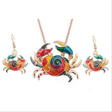 Crab Necklace Earring Gift Jewelry Sets Colorful Silver Plated 1 sets Fashion