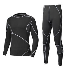 Mens Thermal Body Suit Tight Long Sleeve Tops + Pants Base Layer Underwear