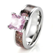 Rose Pink Mossy Tree camo titanium wedding ring prong setting princess cz stone