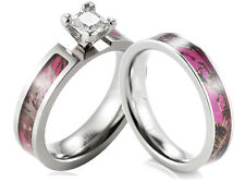 Titanium Pink Muddy Tree Camo Ring CZ  setting engagement wedding ring set-2pcs
