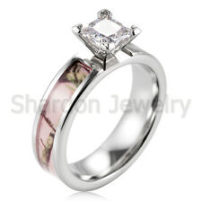 Pink tree camo titanium engagement wedding ring prong setting princess cz stone