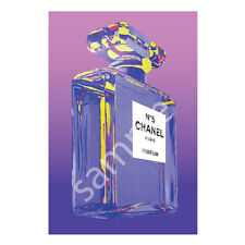 Chanel No.5 No5 Perfume Bottle Art Print Poster Canvas in Purple (pint)
