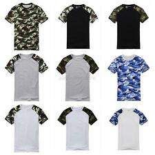Trendy Mens Camouflage T-shirt Cotton Army Tactical Military Sport Camp Shirts
