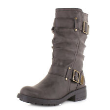 Womens Rocket Dog Trumble Galaxy Brown Slouch Calf Low Heel Biker Boots Size