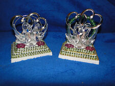 NEW SWANS WITH DOUBLE SILVER HEART DECOR & BEADS WEDDING CAKETOP GREEN VARIETIES