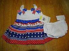 Bonnie Baby Baby Girls Americana Dress Red/White/Blue Size 3/6 6/9 Months NWT