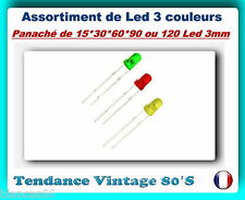 *** LOT DE 15*30*60*90 OU 120 LED 3MM DIFFUSANTES / 3 COULEURS ASSORTIES ***