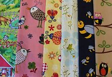 COTTON FABRIC MATERIAL MIXED BUNDLE PACK FARM BEES HENS FROGS OWLS BUGS ANIMALS