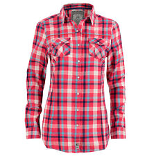 Womens Long Sleeve Casual Button Up Shirt with Pink & Blue Check Pattern