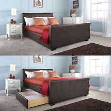 HANNOVER BED FAUX LEATHER 4 DRAWERS STORAGE BEDSTEAD 4FT6 5FT BROWN