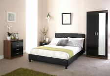 BED-IN-A-BOX BEDSTEAD FAUX LEATHER MODERN STYLE BED 3FT 4FT 4FT6 5FT BLACK