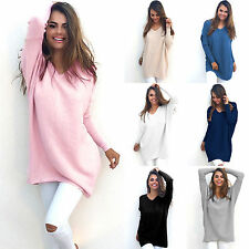 Womens Comfy Chunky Knitted Sweater Shirt Baggy Top Jumper Casual Dress Outwear