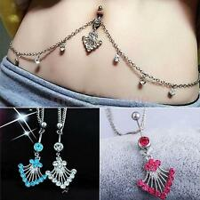 CRYSTAL RHINESTONE BELLY NAVEL RING DANGLE BUTTON PIERCING CHAIN JEWELRY