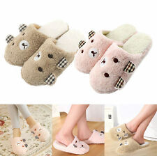 Antiskid Cute Winter Bear Animal Plush Warm Indoor Home Women Men Slippers Soft