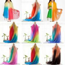 Womens Fashion Gradient Contrast Color Imitated Silk Scarf Long Shawl Wrap