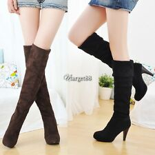 Women Over Knee Faux Suede Stretch Thigh High Slouchy high Heel Boots Shoes UTAR