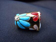 STERLING SILVER W/ GOLD WASH ABSTRACT MODERIST MULIT GEMSTONE RING SIZE 8