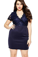 Navy Scalloped Lace Top Plus Size Bodycon Dress