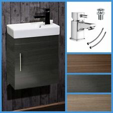 Bathroom Cloakroom Compact Cube Vanity Unit Cabinet with Ceramic Basin Tap