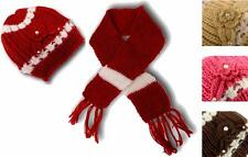 Women's Girls Knitted Beanie Hat with Applique Flower Pearl and Scarf Set