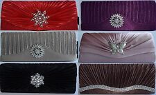 Ladies Womens Girls Satin Pleated Evening Party Wedding Prom Envelope Clutch Bag