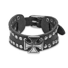 Wrist band black brown leather Iron Cross adjustable Length / Wide in mm: 160