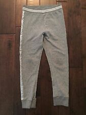 H&M Gray Girls Silver Sparkle Joggers Sweats 7 8 EUC