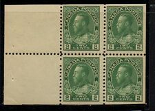 Canada Sc 107b 1922 2 c green G V Admiral booklet pane of 4 mint