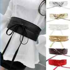 Boho Womens Soft Leather Wide Self Tie Wrap Around Obi Waist Band Dress Belt FT