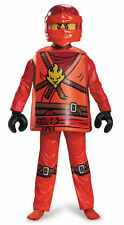 Deluxe Kai Red Ninjago Lego Boys Child Costume NEW Masters of Spinjitzu