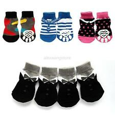 4Pcs Pet Dog Cat Cotton Anti-slip Knit Weave Warm Sock Skid Bottom Various Style