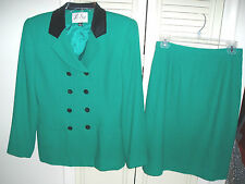 2 Pc LE SUIT Paris NY Double-Breasted Lined Blazer Jacket w/ Skirt Suit~Green~6P