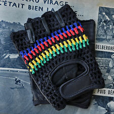 Vintage Style World Champion Black Crochet Track Mitts Cycling Gloves L'Eroica