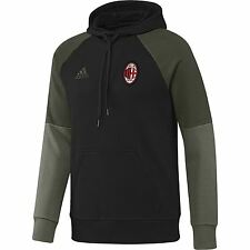 adidas Mens Gents Football Soccer AC Milan Training Hooded Sweat Top - Black