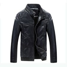 Fashion Men's Sycthetic Leather Slim Jacket Thick Biker Motorcycle Coat Overcoat