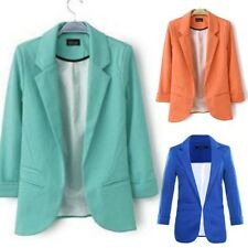 Fashion Women Casual Slim Solid Suit Blazer Jacket Candy Color Coat Outwear New