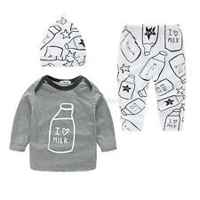 Newborn Infant Baby Girl Boy Printed Top+Long Pants Hat 3pcs Outfits Set Clothes