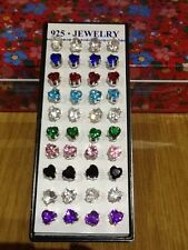 Dainty sparkly 925 silver stud heart shape earrings ~ rhinestone