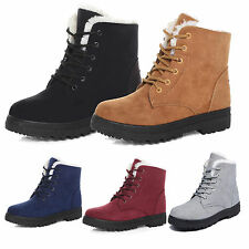 Fashion Women Winter Warm Flat Lace Up Fur Lined Martin Boots Snow Ankle Shoes