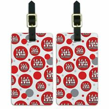 Luggage Suitcase Carry-On ID Tags Set of 2 Birthday Party Red Black Polka Dots