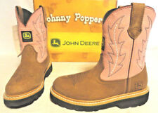 JOHN DEERE, YOUTH GIRLS PINK/TAN LEATHER COWBOY BOOTS, CHOOSE SIZE 1.5, 2.5 & 3