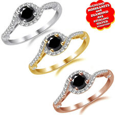 3/4 Ct Round Cut Black Moissanite & Diamond Halo Swirl Ring in Sterling Silver
